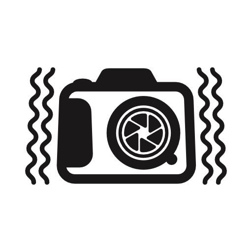 Photo camera with vibrant lines at sides free icon