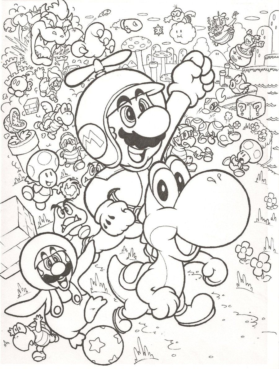 Super mario fire flower coloring pages - Super Mario Bros Coloring Pages Free Large Images
