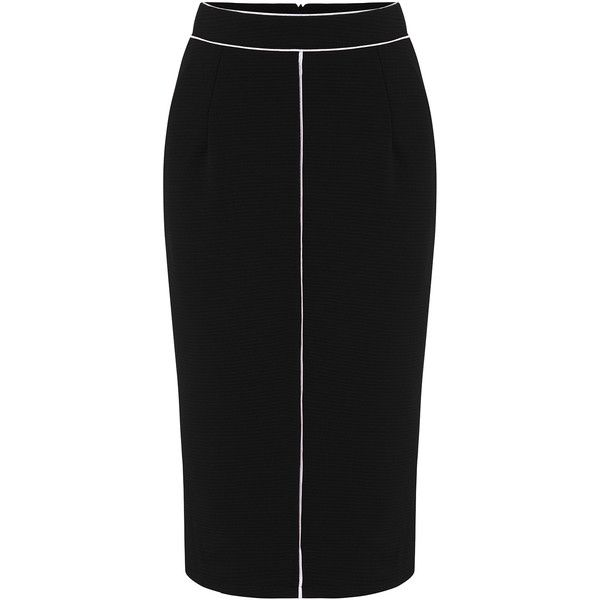 Zippet Slim Black Skirt (£11) ❤ liked on Polyvore featuring skirts, black, stretchy skirts, pencil skirt, knee length skirts, knee length pencil skirt and stripe pencil skirt