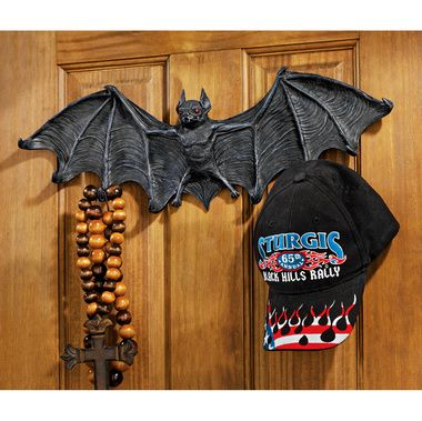 Vampire Bat Sculptural Hooked Wall Hanger Large - CL5847 - Design - large outdoor halloween decorations