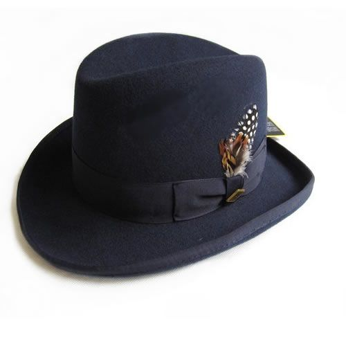 c79f8847e1608 Navy Blue Winter Fashion Wool Fedora Dress Hats for Men