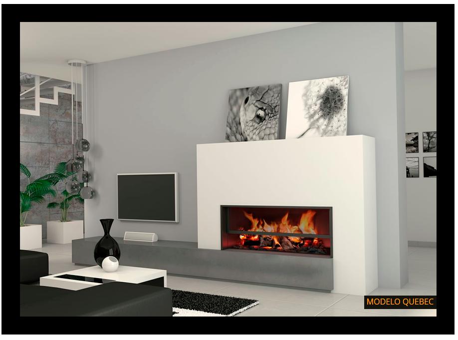 Chimenea moderna quebec chimeneas pinterest salons fireplace wall and lounge ideas - Chimeneas con television ...