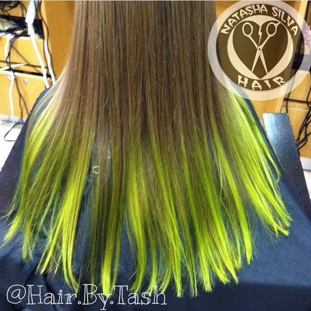 Lime Green Colorful Balayage Ombre Hair Color Green Hair Long Hair Styles