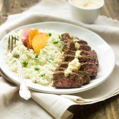 Mango Curry Steak with coconut cauliflower rice