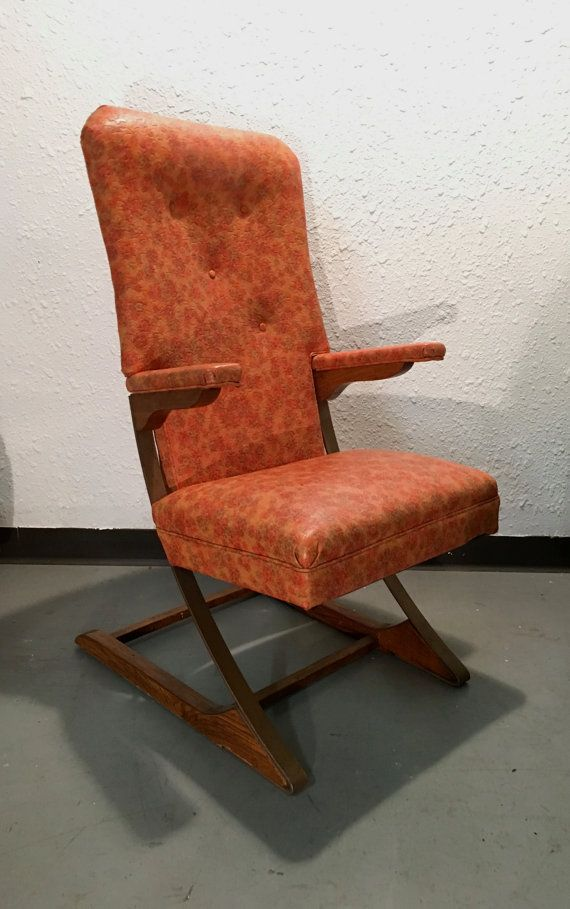 Mid Century Modern Orange Floral Rocking Chair By McKay