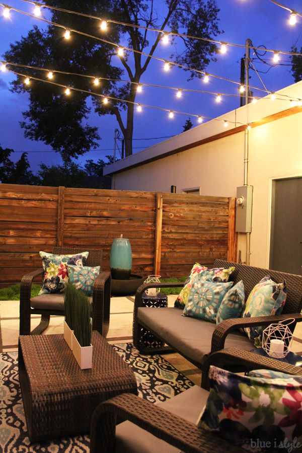 How to hang patio string lights ideas pinterest patio string 5ab307b1c9bd422de217afe42a9601b2g aloadofball Images