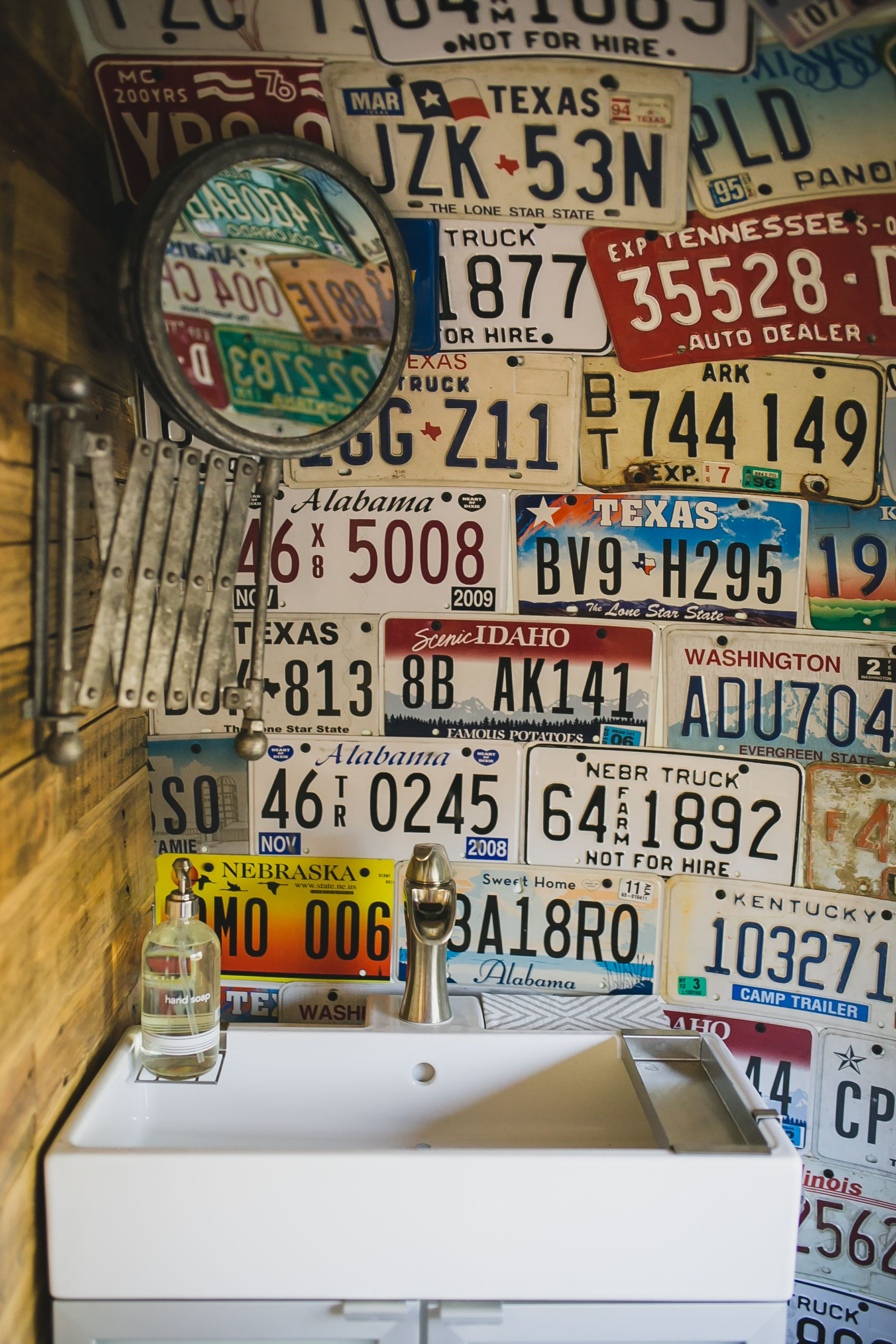 Vintage, unique license plate wall decor ties together our perfect