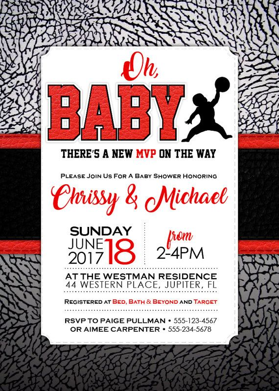 """super popular 34627 e355e Air Jordan Baby Shower Invitation by Whirlibird. 5""""x7"""". You can order a  printable file, or I can print for you. Printable files are high-resolution  (."""