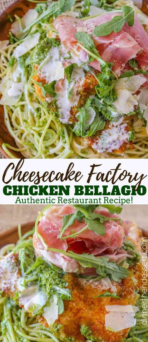 Cheesecake Factory Chicken Bellagio with pesto pasta, Parmesan, crispy chicken and pancetta for the perfect copycat meal with an authentic recipe! #cheesecakefactoryrecipes