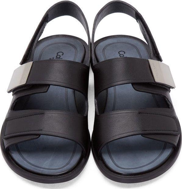 En Black Klein Collection Strap Leather SandalsSandalias Calvin wTZulOXiPk