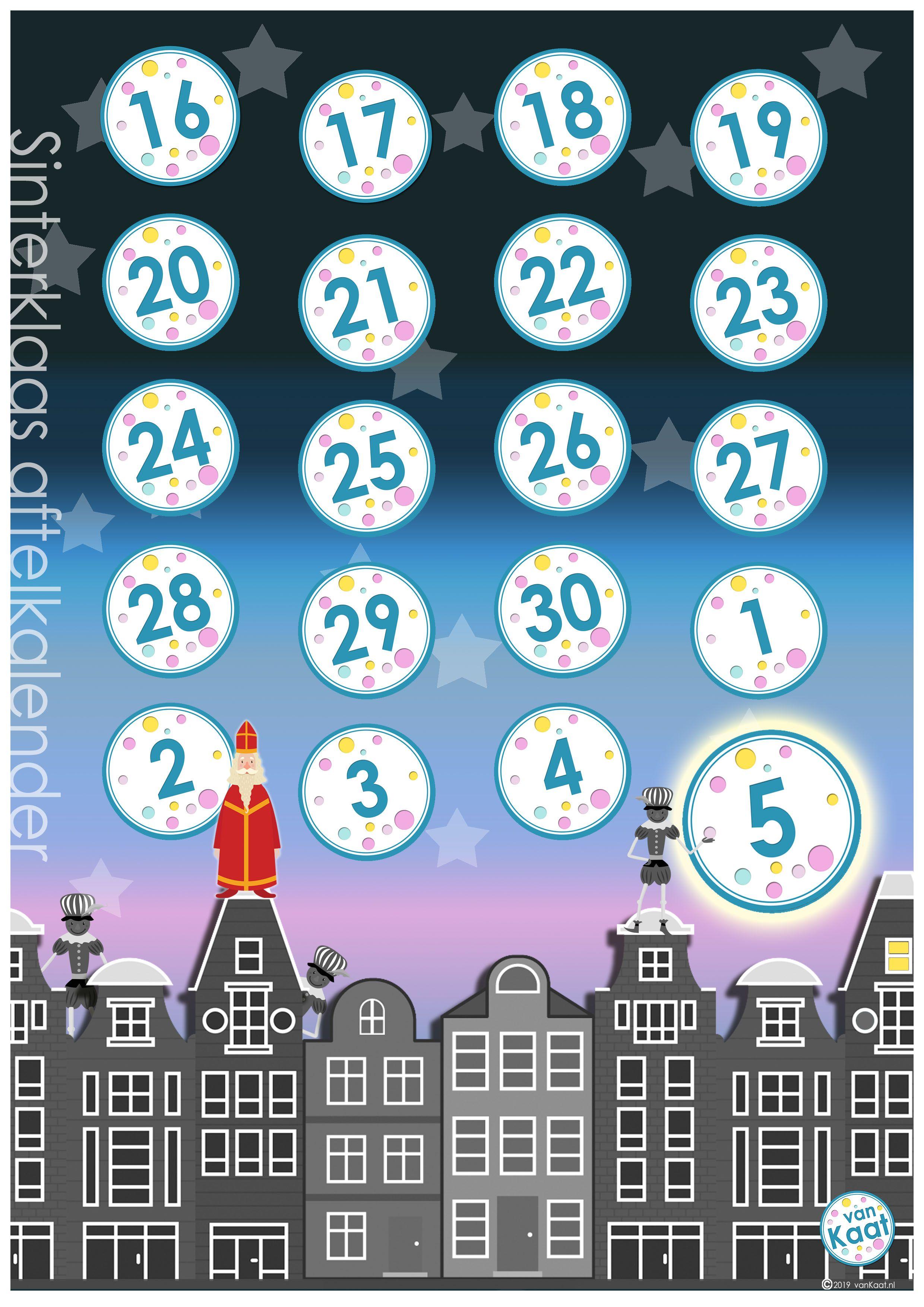 Aftelkalender Sinterklaas 2019 Sinterklaas Kinderfeestje Kerstmis Knutselen Peuters