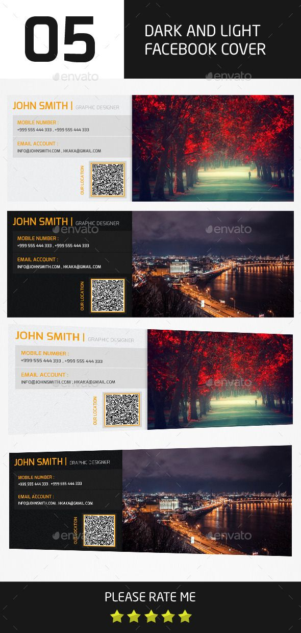05 Style Light and Dark Facebook Cover Templates Template, Style
