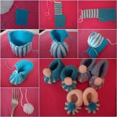 The Perfect DIY Cute Knitted Baby Booties With Pom Pom Decoration - The Perfect DIY
