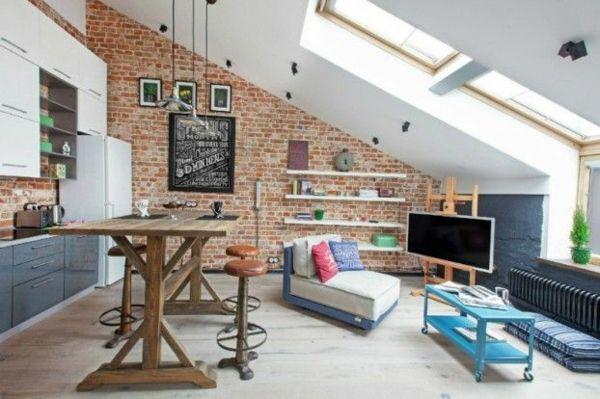 kleine wohnung dachfenster einrichten tipps Duplex House - dachgeschoss wohnungen einrichten ideen