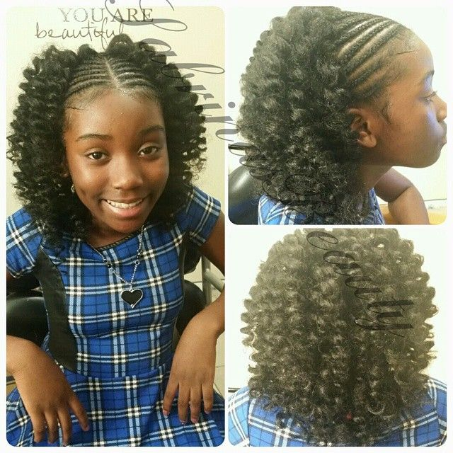 Cornrows In The Front And Crochet In The Back I Added A Little Length This Time It S Still Age Appropri Kids Braided Hairstyles Hair Styles Kids Hairstyles