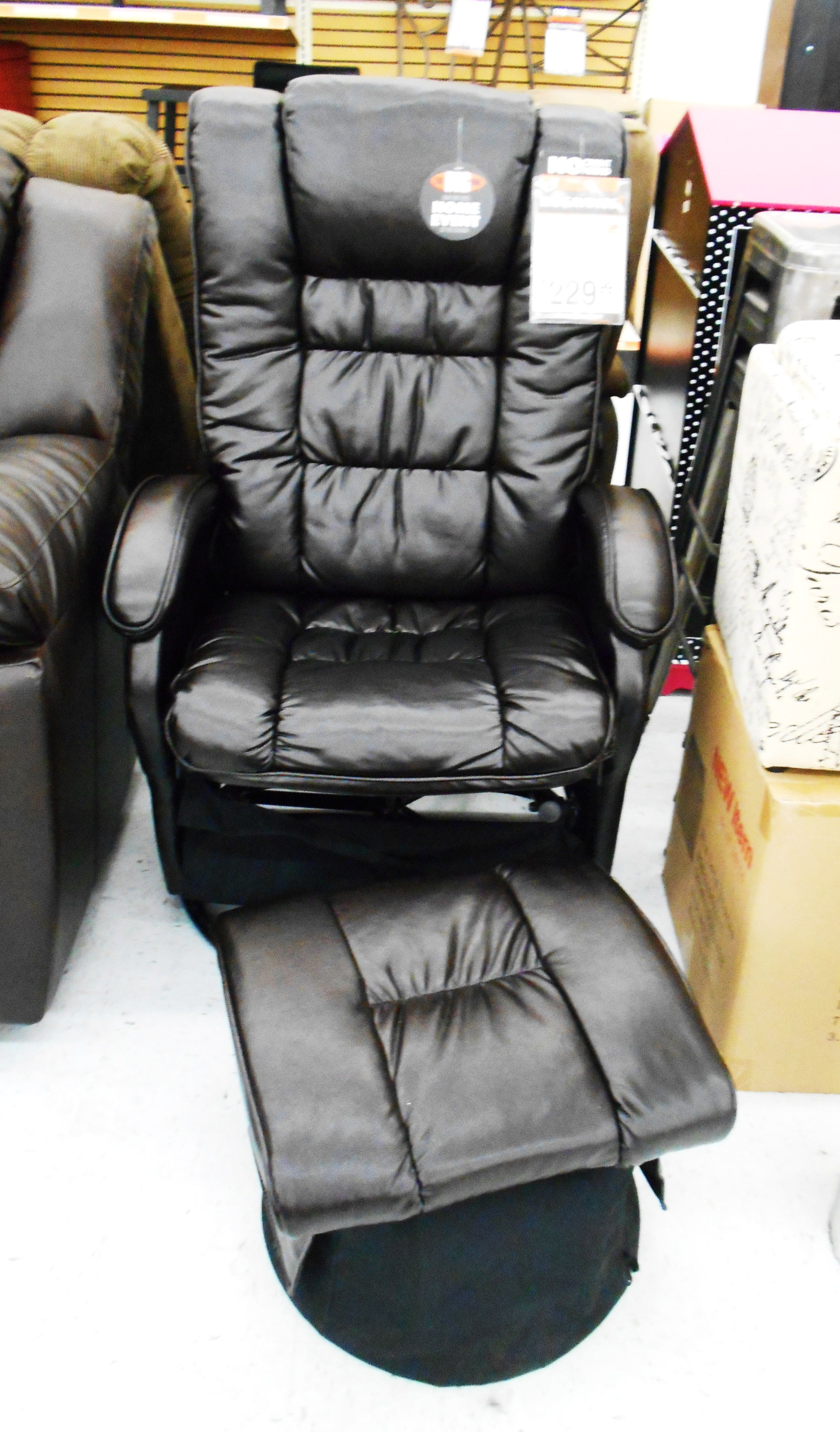 Fauxleather glider recliner with ottoman 22999 from big
