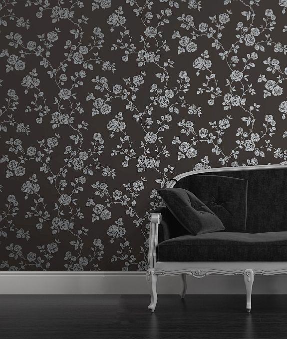 Albany Glitter Roses Black Wallpaper Main Image