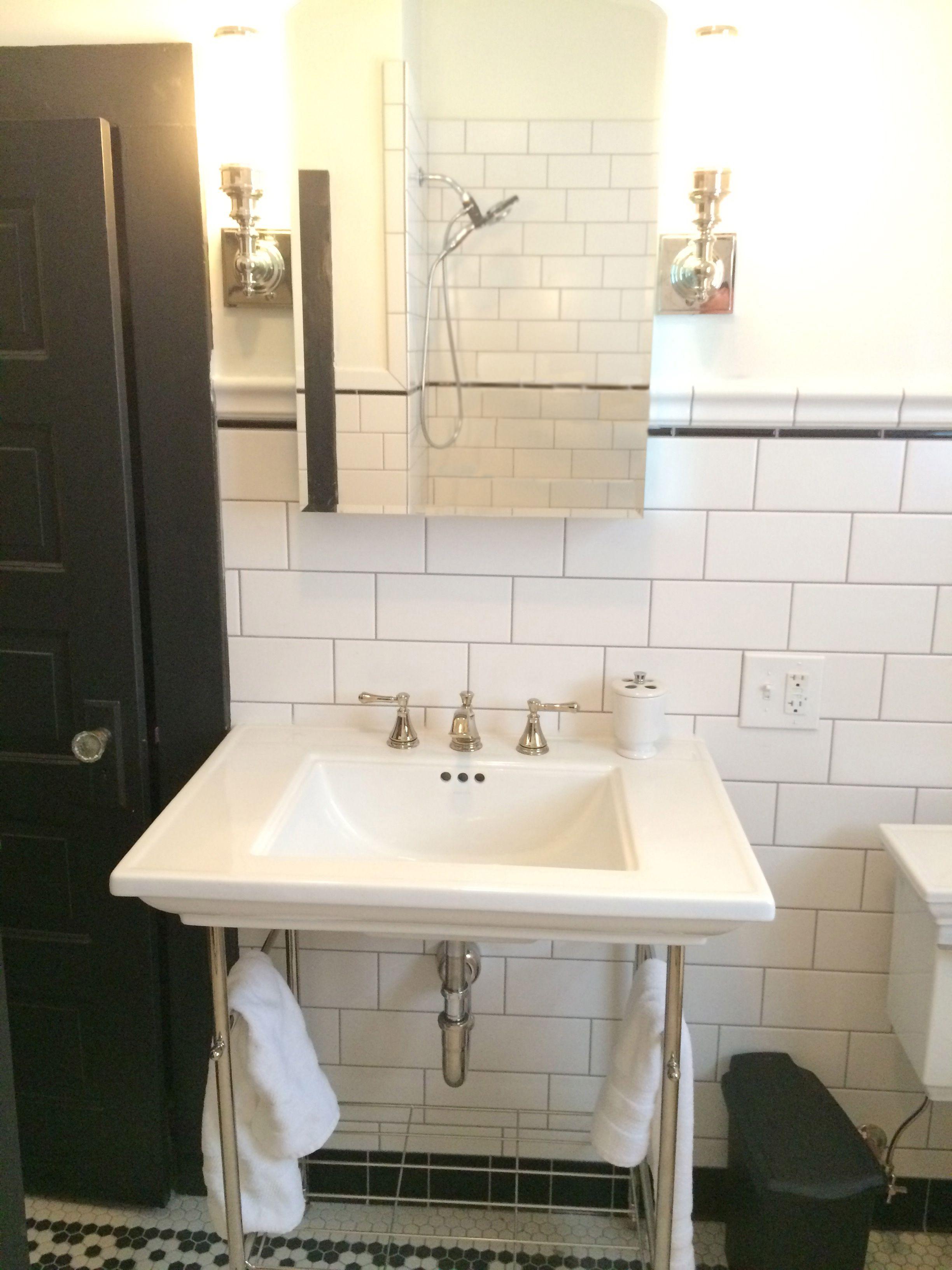 Retro Black And White Porcelain Hexagon Tiles Vintage