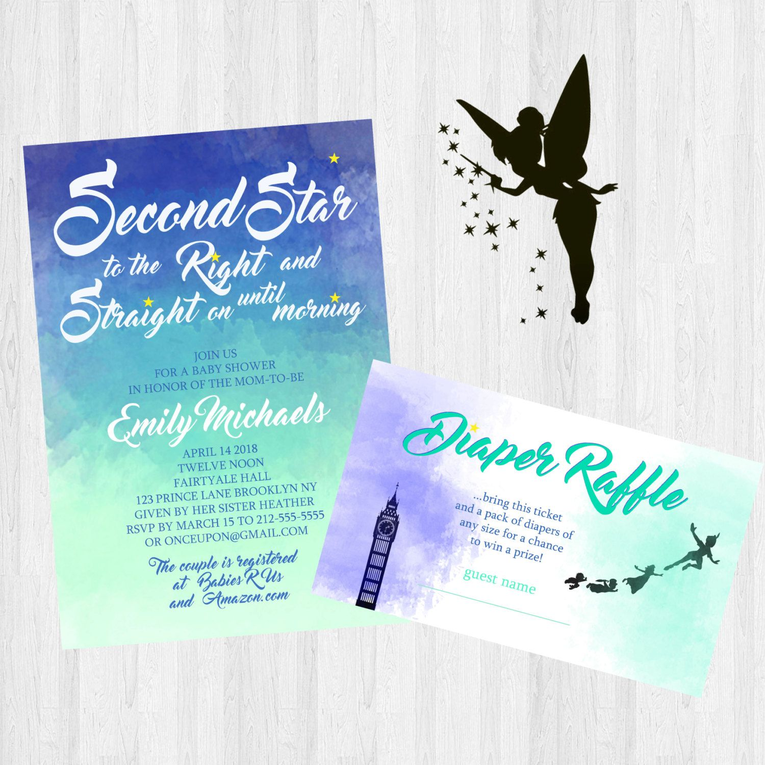 Peter Pan Baby Shower Invitation Digital File by aDazzlingPlace ...