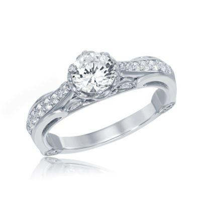 Enchanted By Disney 1 CT TW Diamond 14K White Gold Belle Bridal Ring