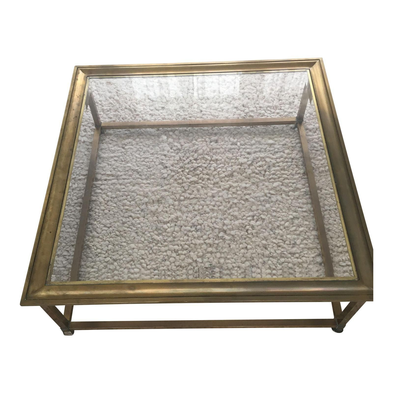 Mid Century Hollywood Regency Brass Glass Coffee Table
