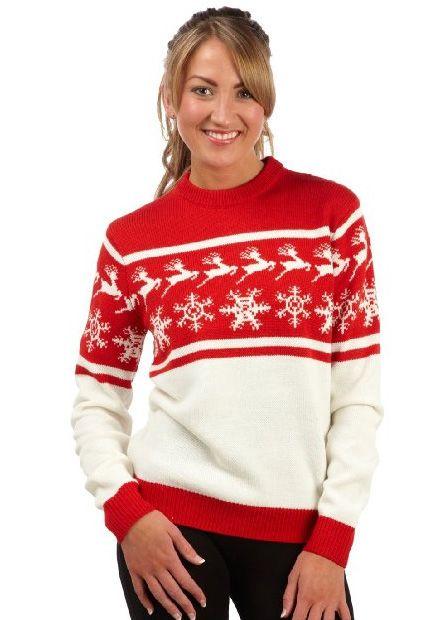 Red Womens Nordic Christmas Jumper Christmas Jumpers Red Christmas Sweater Christmas Sweaters For Women