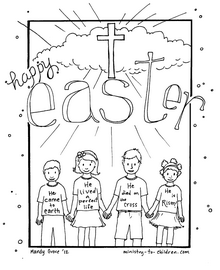 Easter coloring page. The kids t-shirts tell the main