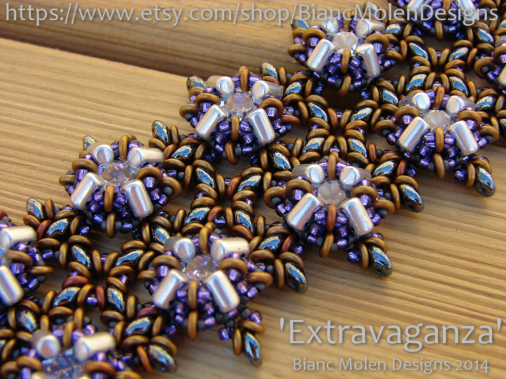 Bracelet design (pattern will be made) Extravaganza.  SuperDuo, Rulla, O-Beads, Seed Beads, Fire Polished beads, Chatons.  www.biancmolendesigns.com