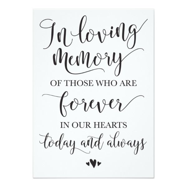 In Loving Memory Remembrance Wedding Ceremony Sign Card Wedding