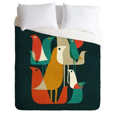 East Urban Home Budi Kwan Lightweight Flock of Bird Duvet Cover Size: Queen
