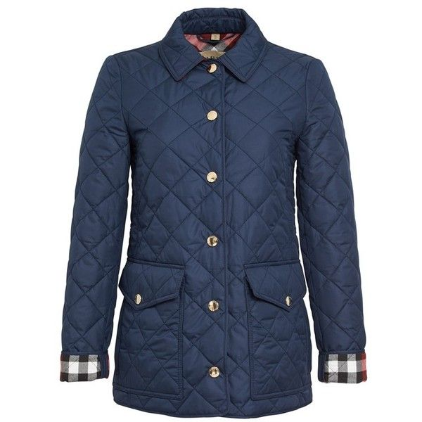 Women S Burberry Westbridge Quilted Jacket 655 Found On Polyvore Featuring Women S Fashion Outerwear Jackets Blue Jackets Jacket Design Checkered Jacket