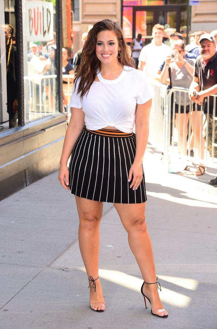 76dca9d5782ff Ashley Graham Wearing Striped Miniskirt