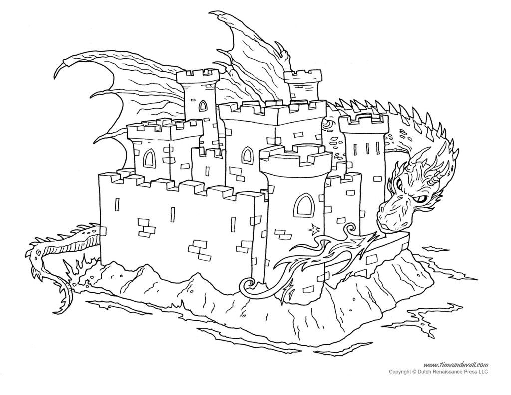 Free Coloring Pages Of Dragon And Castle