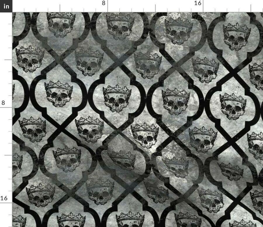 Gray Skull Spooky Royal Halloween Decor Crown Fabric