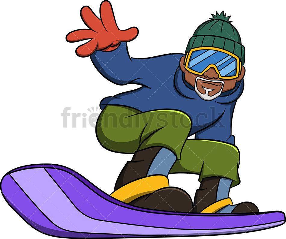 Black Old Man Snowboarding Cartoon Vector Clipart Friendlystock Cartoons Vector Man Cartoon