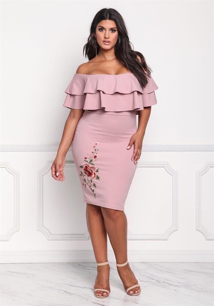 Plus Size Clothing | Plus Size Off Shoulder Layered Rose Applique ...
