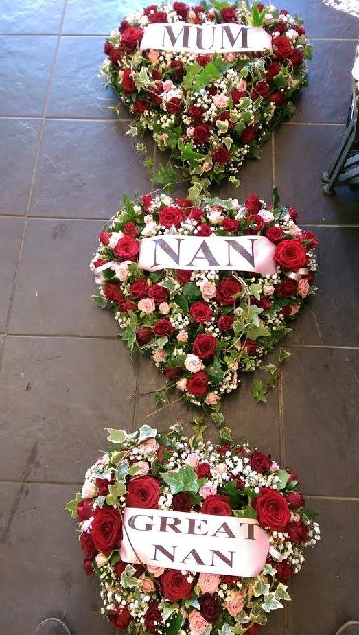 3 Heart Tribute Funeral Flowers With 4 Inch Wide Personalised Ribbon