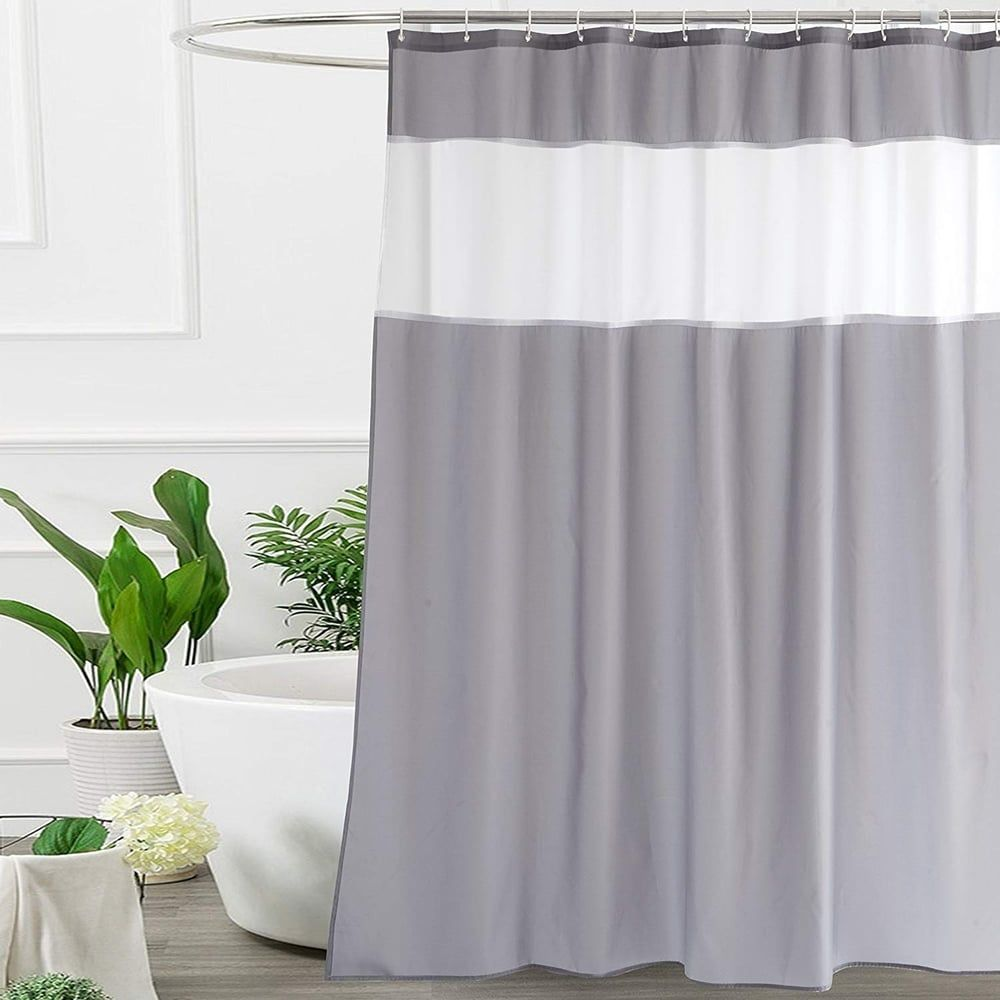 Mesh Window Design 72Wx75L Heavy Duty and Waterproof Silvery Gray Bathroom Curtain with Damask Decor Weighted Bottom Hem UFRIDAY Fabric Shower Curtains with Floral Patterns