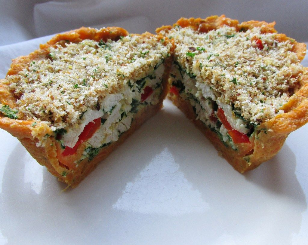 Microwave savory  pie for one with sweet potato crust