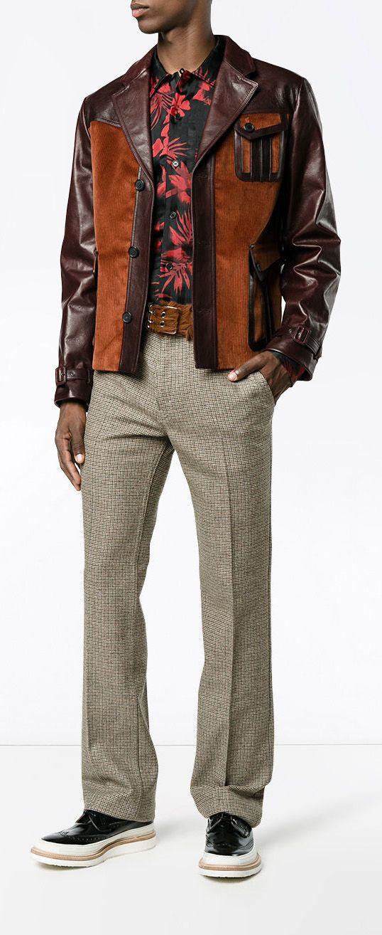 6cbef7ea7827 PRADA Patch pocket leather jacket, explore new season Prada on Farfetch now.