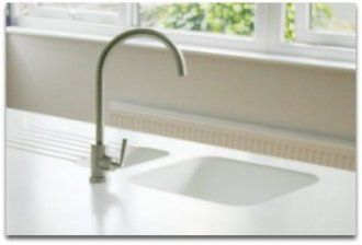 Beau Corian Sink Molded Into White Countertops With Drain Board