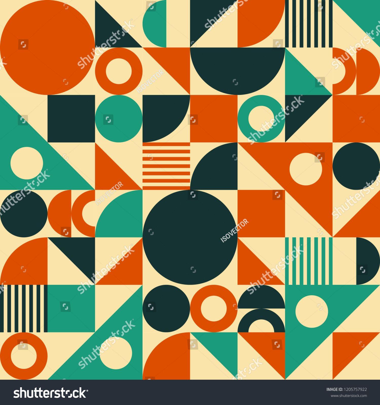 Seamless Vector Geometric Background Pattern In Retro Mid Century