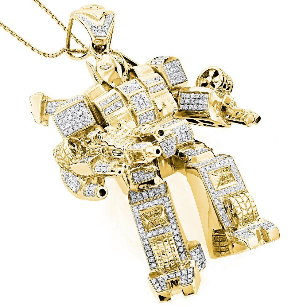 Custom Jewelry 3 D Transformer Diamond Pendant 1 25ct Gold Plated Jewelry Diamond Jewelry Set Custom Jewelry