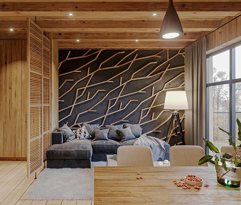 Accent Walls Designed To Look Like Branches Wood Interior Design Accent Wall Design Interior Wall Design