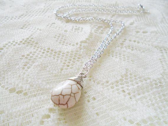 Howlite silver chain necklace Healing gemstone pendant