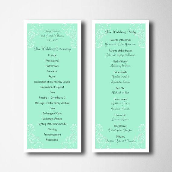 mint wedding simple wedding program template by cardsforwedding