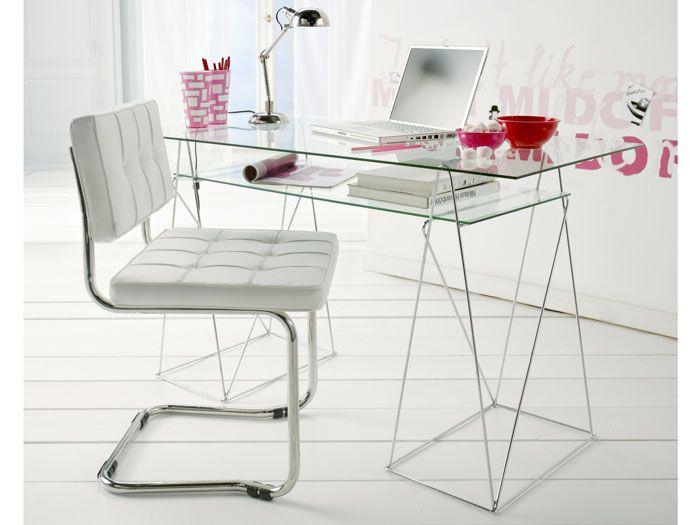 Mesa oficina cristal tiempo de estudio escritorio de - Mesas estudio cristal ...