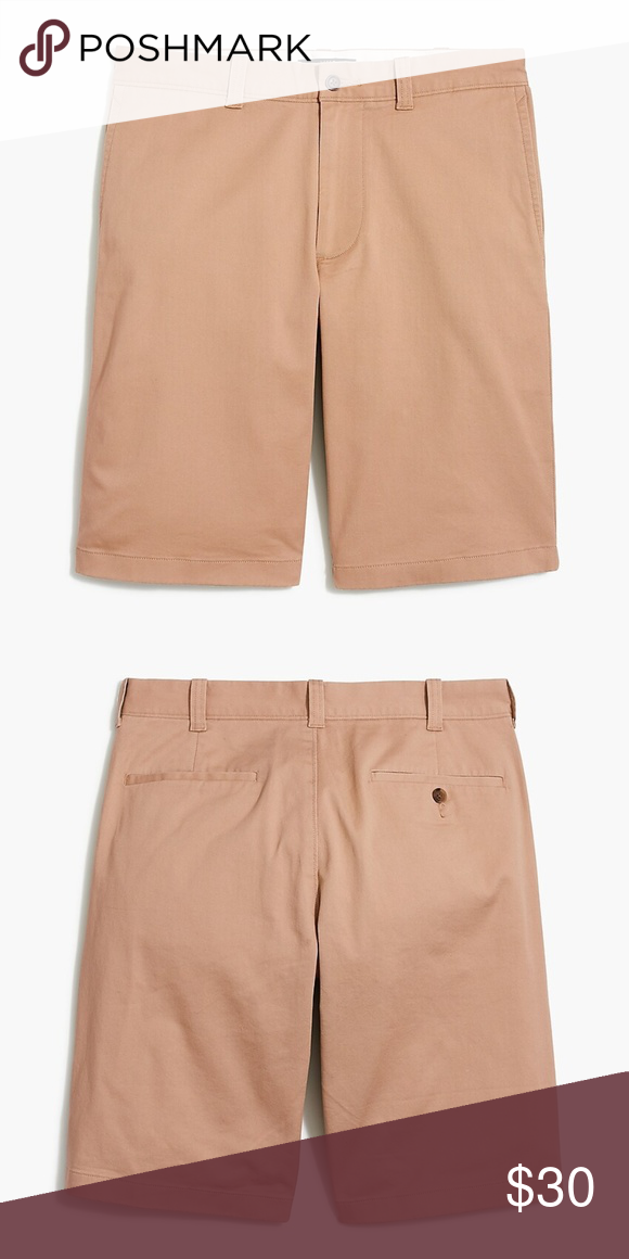 J.Crew Mercantile Mens 9 Inseam Flat-Front Stretch Chino Short Casual Shorts