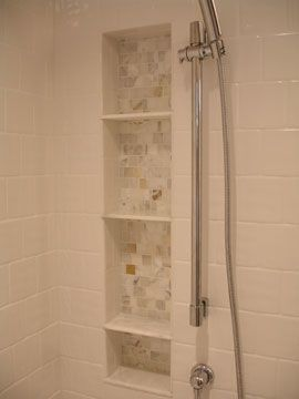 Calcatta Mosiac Niche With Hd Marble Baseboard As Shelves Bathroom Nicheshower