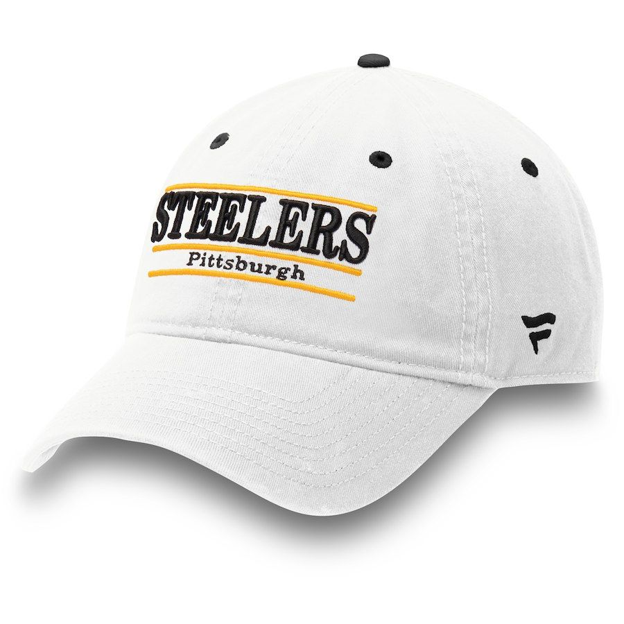 1eb2bd1a803 Pittsburgh Steelers NFL Pro Line by Fanatics Branded Classic Bar Adjustable  Hat – White
